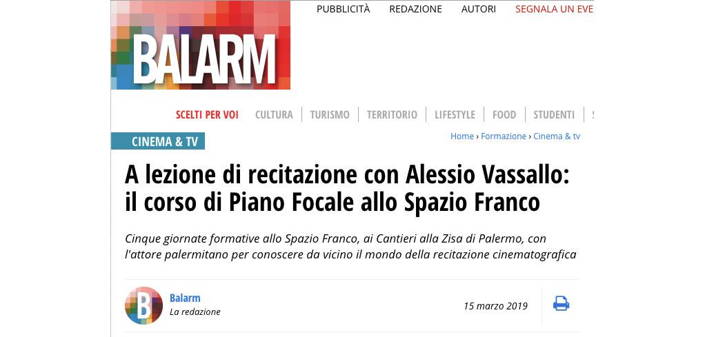 Balarm – A lezione di recitazione con Alessio Vassallo: il corso di Piano Focale allo Spazio Franco